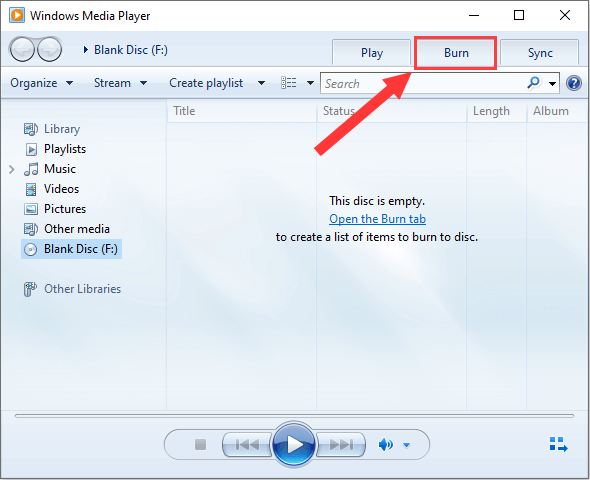 Windows Media Player Burn tab