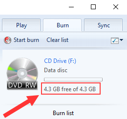 Windows Media Player file size left on disc