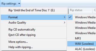 windows media payer rip settings