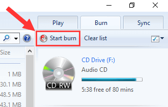Windows Media Player Start Burn button