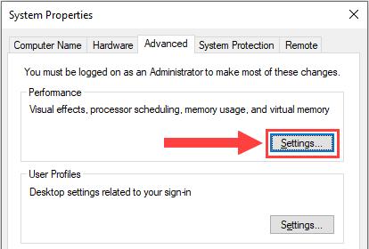 windows system properties performance settings