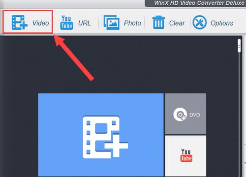 WinX Video Converter Add video file button