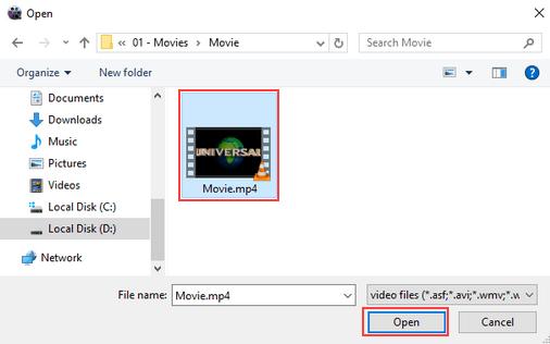 WinX Video Converter open video file window