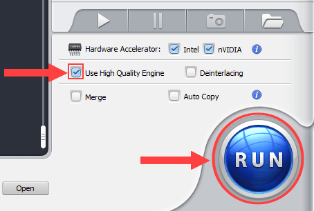 WinX Video Converter Run button