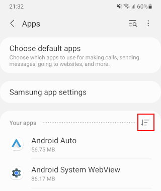 Your apps option button on a Samsung phone